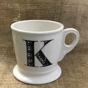 Anthropologie white monogram K coffee mug cup